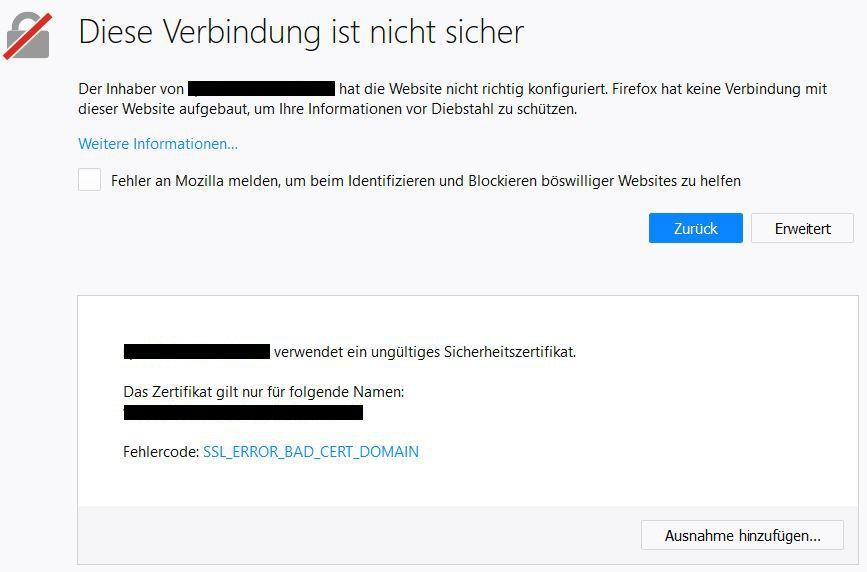 """SSL Zertifikat - """"Zertifikat unbekannt"""""""